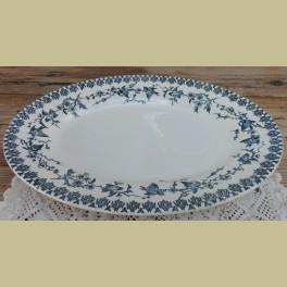 Antieke Franse ovale serveer schaal blauwe vogeltjes
