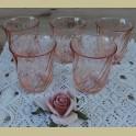 5 Kleine Franse roze drinkglazen, glazen, Arcoroc, Rosaline