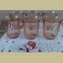 6 Franse roze drinkglazen, glazen, Arcoroc, Rosaline