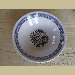 Brocante schaal bruine & blauwe bloemetjes