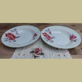 2 Grote Franse soep borden rode rozen, Badonviller Monique