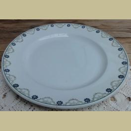 Groot Frans bord, groene guirlandes en blauwe bloemetjes