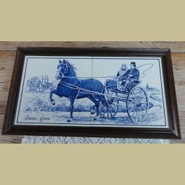 Blauw tegelplateau met paard, Friese Sjees