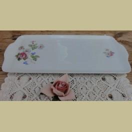 Grote porseleinen cakeschaal met petunia's