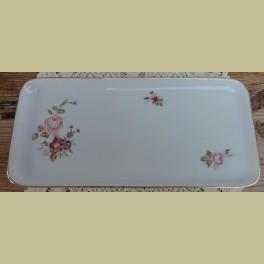 Wit porseleinen cakeschaal met bloemen en roze roosjes, Hutschenreuther