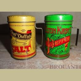 Peper en zoutstel van blik
