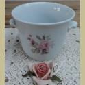 Wit porseleinen bloempot met roze roos , Hutschenreuther