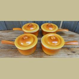 4 Kleine oranje ovenschaaltjes met dekseltjes, Le Sphinx Parafeu