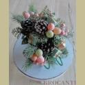 Pastel kerststukje met arreslee, mintgroen