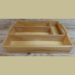 Brocante houten bestekbakje/ vakkenbakje