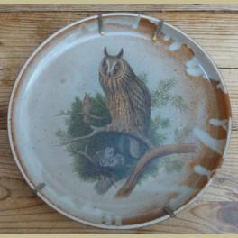 Franse gres wandbord met uilen met jong