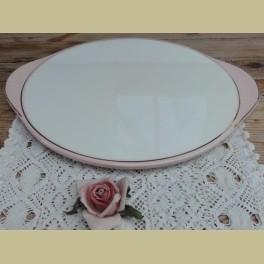 Vintage off white / pastelroze taartschaal