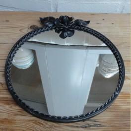 Zwarte ronde vintage spiegel met roos
