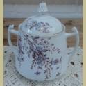 Zeer grote oude Franse suikerpot met blauwe bloemetjes