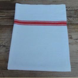 Franse brocante ecru theedoek met rode strepen