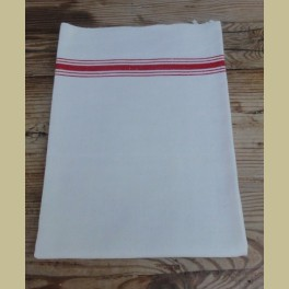 Franse brocante dik linnen ecru theedoek met rode strepen