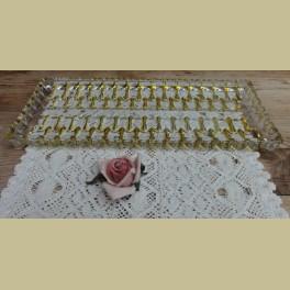 Vintage glazen cakeschaal schaal met gele figuurtjes