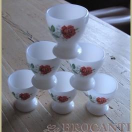6 ARCOPAL eierdopjes met rode roosjes